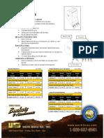 Backhoe BUCKET Cut Sheet