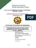CATALOGO de Tesis, Costos Unitarios de Labores de Exploración
