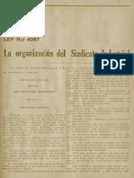 Ley No. 4057 La Organización Del Sindicato Industrial