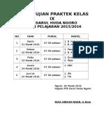 Jadwal Ujian Praktek Kelas Ix