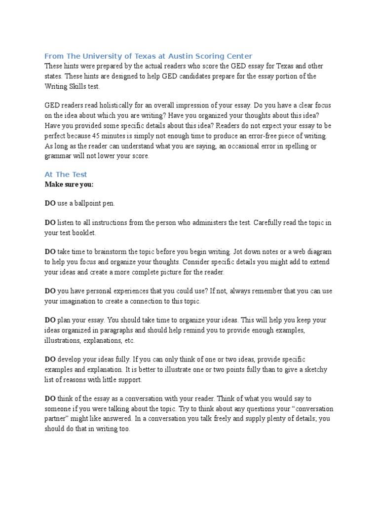 how to write an g e d essay