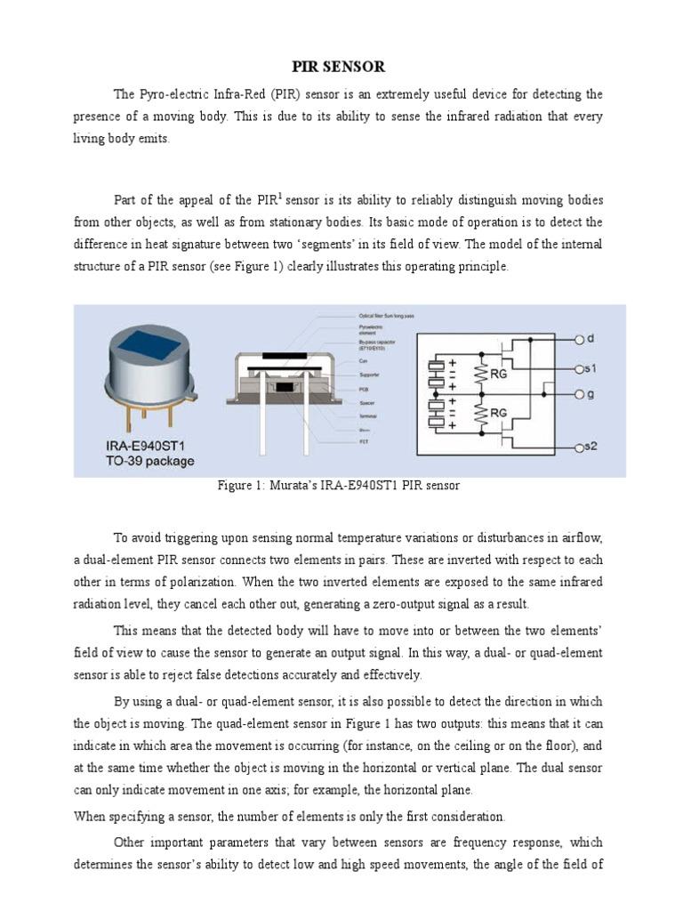 Pir Sensor Electronic Circuits Amplifier Motion Sensors Circuit Using Integrated Pyroelectric