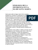 Cronologia de La Idependencia en La Provincia de Santa Marta