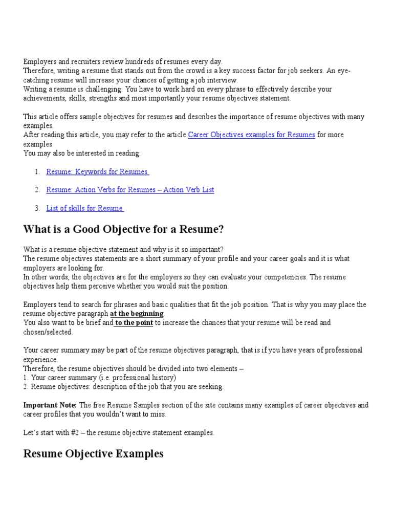 64 resume introduction examples 28 career objectives