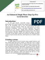 An Enhanced Single Phase Step-Up Five Level Inverter