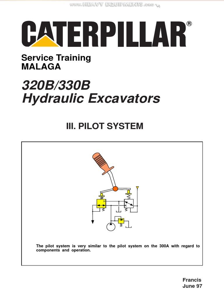 material caterpillar 320b 330b hydraulic excavators pilot system rh scribd com Cat 320 Excavator Specifications Cat Caterpillar