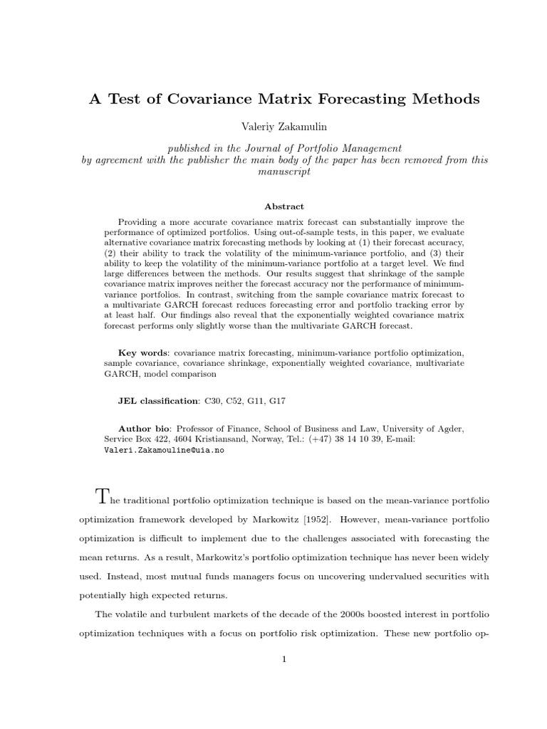 SSRN-id2411493 | Forecasting | Heteroscedasticity