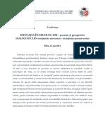 Conferinta preuniversitara Sibiu, Educatia in sec XXI