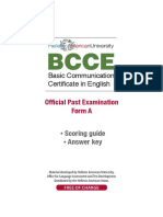 Bcce Past Paper Form a Scoring Guide Key
