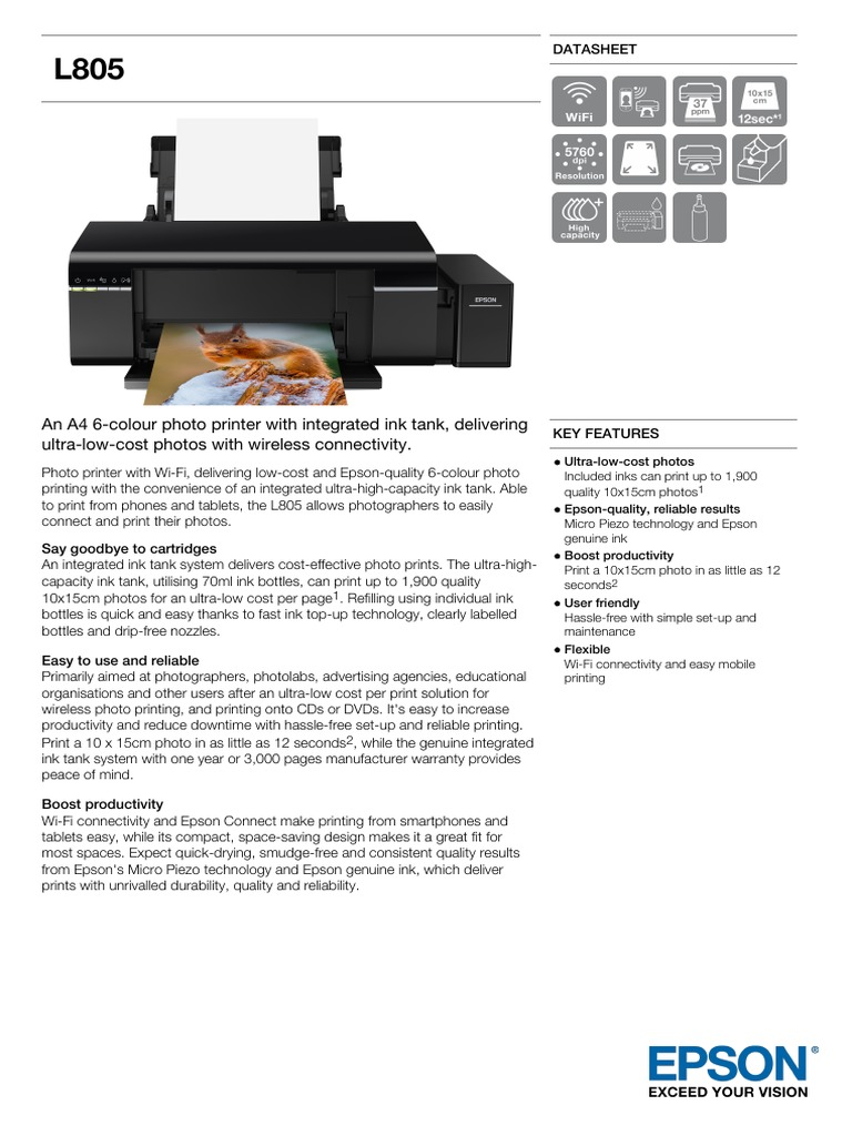 Epson L805 A4 Colour Single Function Ink Tank System Photo