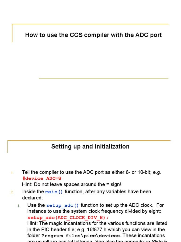 ADC Port Ccs Compiler | Analog To Digital Converter