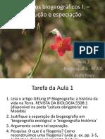 Aula 2 Processos Biogeográficos – Evolucao e Especiação