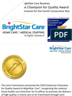 BrightStar Care Receives 2016 Enterprise Champion for Quality Award from The Joint Commission for the Fourth Consecutive Year
