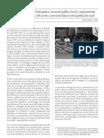 Presupuesto participativo, invesion local y mejoramiento del empleo y del a servicios básicos de la población rural