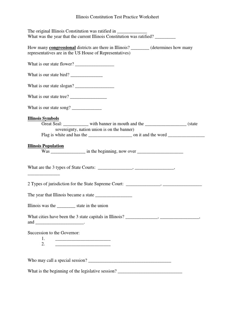 Worksheets Constitution Questions Worksheet study questions for illinois constitution united states constitutional amendment