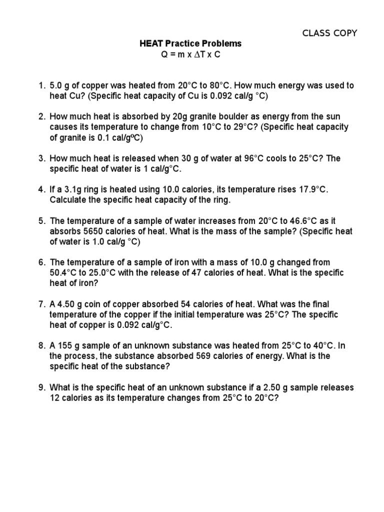 HEAT Practice Problems Heat Capacity – Specific Heat Worksheet