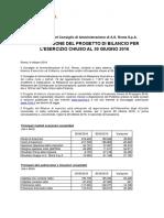 AS Roma, Comunicato Approvazione Bilancio 2015/16