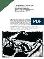 I Taller de Historia Intelectual 2008 Afiche y Programa