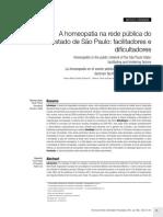 A Homeopatia Na Rede Pública Do Estado de São Paulo