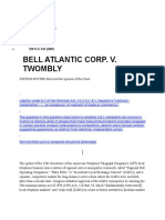 Bell Atlantic Corp v. Twombly 550 U.S. 544 (2007)
