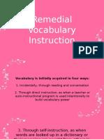 Remedial Vocabulary Instruction