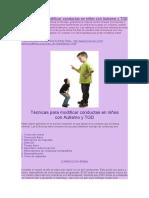 Técnicas Para Modificar Conductas en Niños Con Autismo y TGD