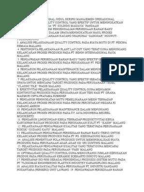 Manajemen Operasional Judul Skripsi Manajemen Operasional Docx