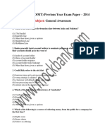 IBPS CWE PO MT Previous Year Exam Paper 2014 GA