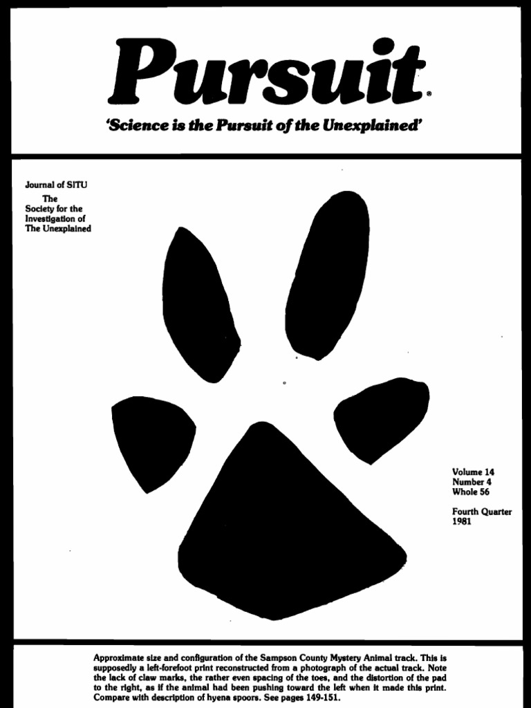 PURSUIT Newsletter No  56, Fourth Quarter 1981 - Ivan T  Sanderson