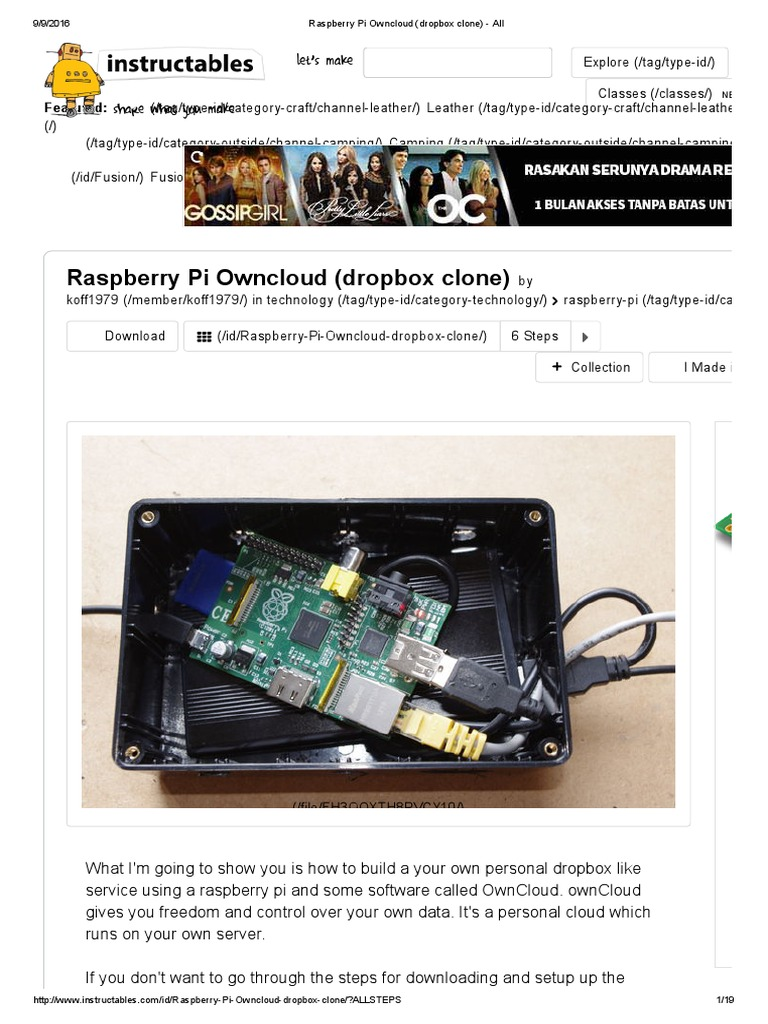 Raspberry Pi Owncloud Dropbox Clone Di Akses 9 September 2016