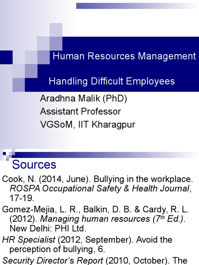 Handling Difficult Employees pptx | Workplace Bullying | Bullying