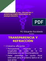 Transparencia y Refracción Del Cristalino; Cambios Asociados Con La Edad