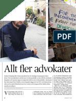 """""""Allt fler advokater fängslas"""", för Advokaten"""