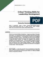 Critical Thinking Skills for Leadership Development