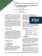 Estructura Del Sistema de Generación, Transmisión, y Distribución de Energía en El Ecuador