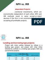 Npv vs Irr and Npv vs Pi