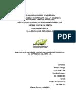 Analisis Del Sistema de Control Interno de Inventario de La Empresa La Rolinera, Sa