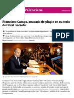 Francisco Camps, Acusado de Plagio en Su Tesis Doctoral 'Secreta'