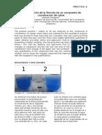 Determinación de La Fórmula de Un Compuesto de Coordinación de Cobre