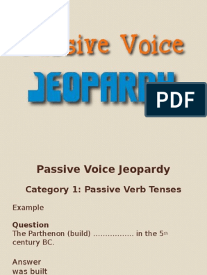 Passive Voice Jeopardy Game | Morphology | Rules