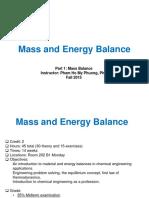 Cân bằng vật chất và Cân bằng năng lượng - Bài giảng khoa Hóa - ĐH Bách Khoa Tp.HCM