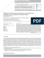 Realizing the Full Potential of Psychometric Meta Analysis for a Cumulative Science and Practice of Human Resource Management 2016 Human Resource Mana