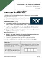 Financial Management December 2011 Exam Paper