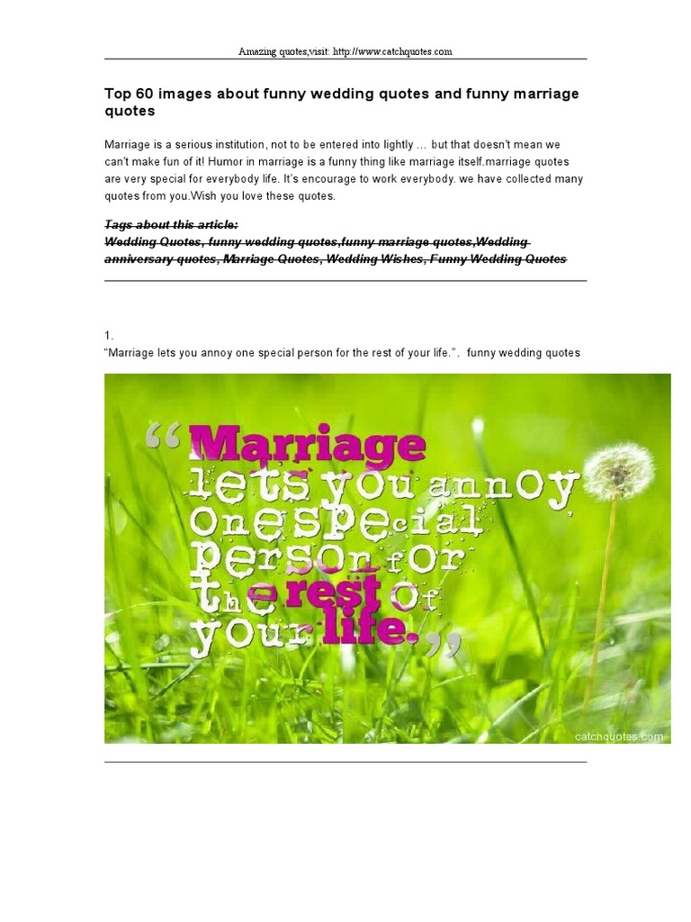 Top 60 Images About Funny Wedding Quotes And Funny Marriage Quotes