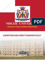 Exemption and Credit Transfer Policy