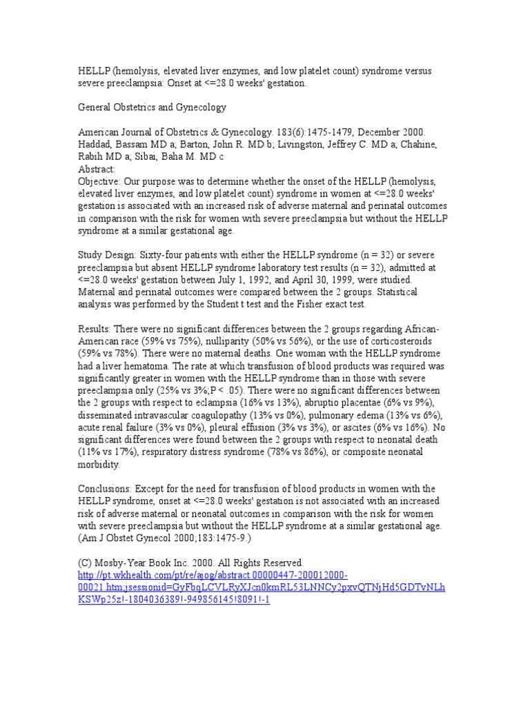 Hellp Word | Medical Specialties | Clinical Medicine