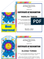 Sample Certificate for Recognition