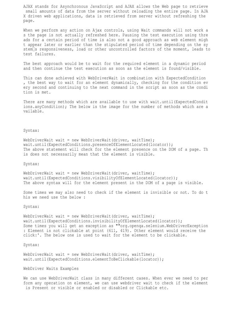 Ajax Selenium Webdriver | Ajax (Programming) | Software
