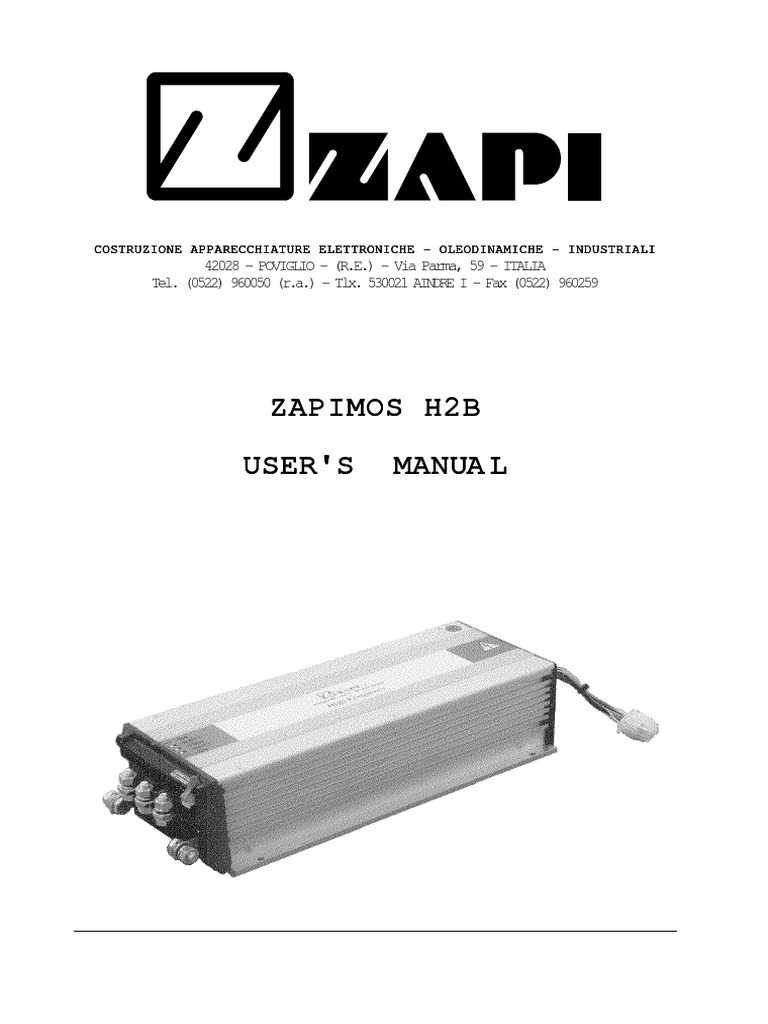 Zapi H2b Manualpdf Battery Electricity Charger Switches Are Operated By Controllers Connected To The Switch By3wire