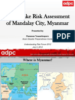 """Earthquake Risk Assessment of Mandalay City Myanmar"""